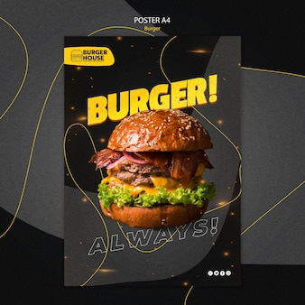 Conceito de modelo de pôster de hambúrguer