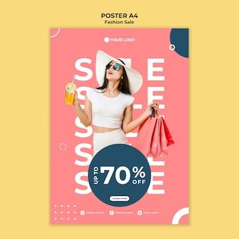 Conceito de modelo de pôster de venda de moda