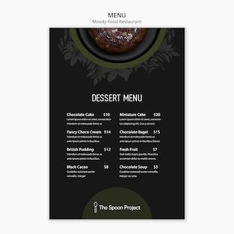 Conceito de modelo de restaurante de comida temperamental para menu