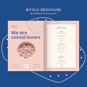 Conceito de modelo para brochura de restaurante bifold