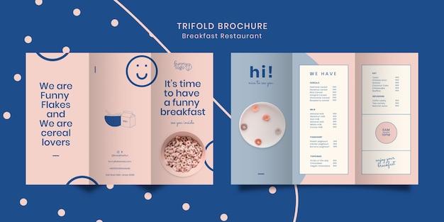 Conceito de modelo para brochura de restaurante com três dobras