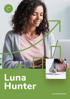 Conceito de mulher de negócios para campanha de marketing
