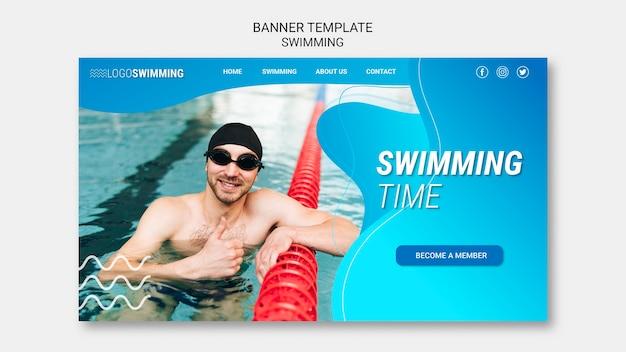Conceito de natação para o conceito de banner