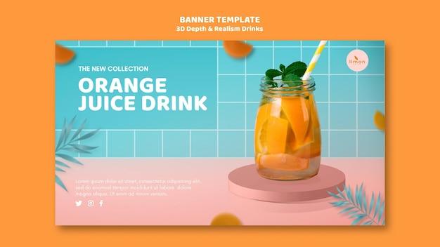 Conceito de página de destino de bebidas de profundidade e realismo 3d