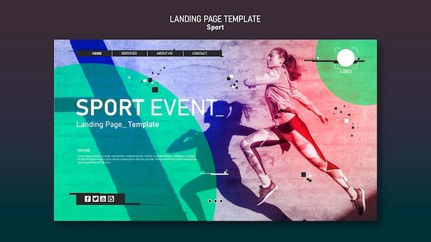 Conceito de página de destino de modelo de esporte