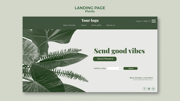 Conceito de página de destino de plantas