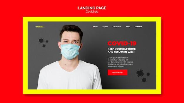 Conceito de página de destino de prevenção de coronavírus