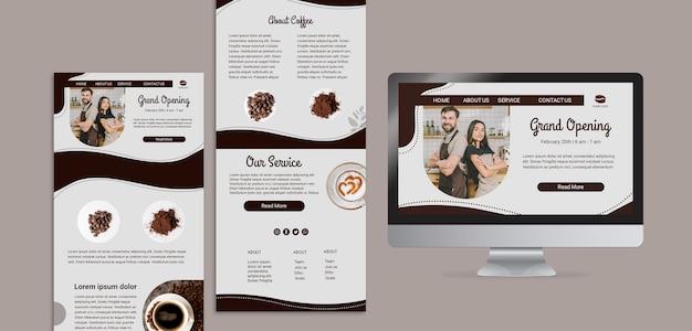 Conceito de páginas de destino de café