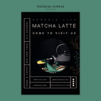 Conceito de panfleto de cartaz de chá matcha