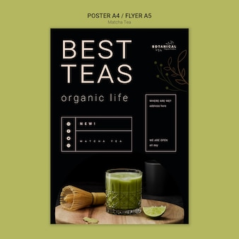 Conceito de panfleto de chá matcha saudável