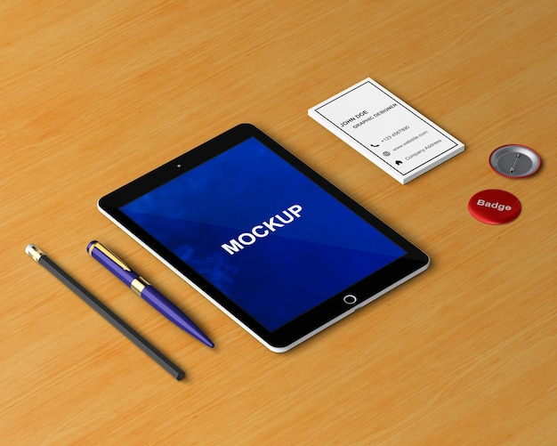 Conceito de papelaria com maquete de tablet