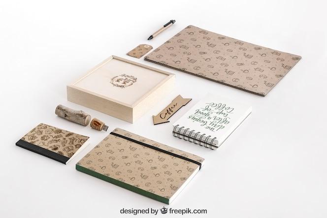 Conceito de papelaria com material de escritório