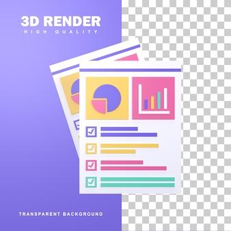 Conceito de planejamento de negócios de renderização 3d com alguns planos que foram verificados.