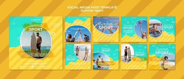 Conceito de post de mídia social de esporte de verão