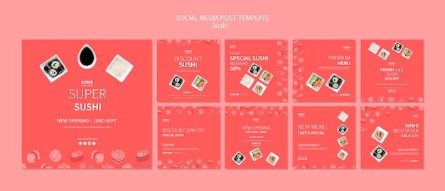 Conceito de post de mídia social de sushi