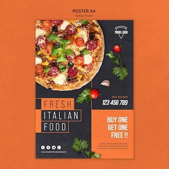 Conceito de pôster de comida italiana