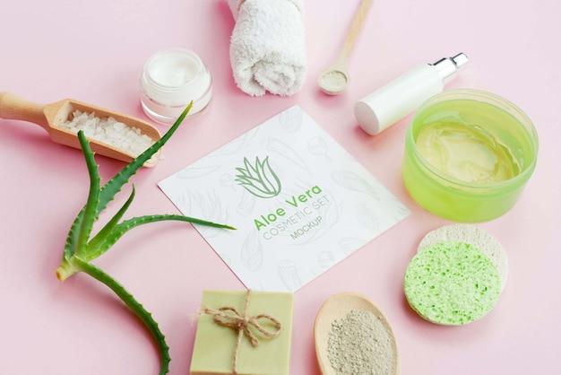 Conceito de produtos de higiene pessoal spa de alta vista