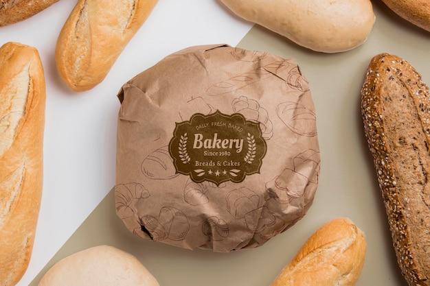 Conceito de produtos de padaria com maquete