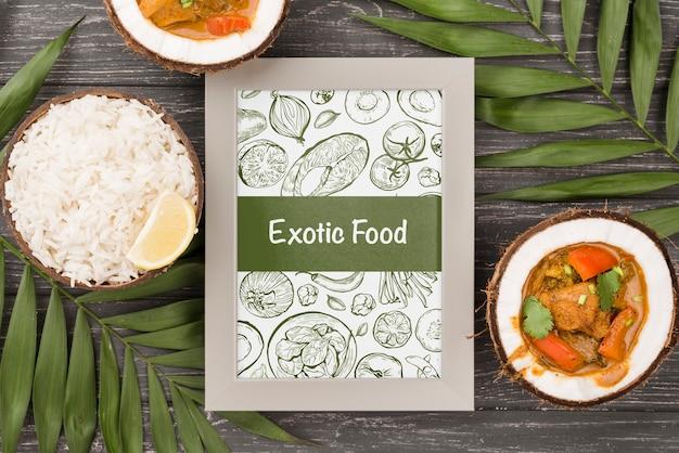 Conceito de quadro de comida exótica com maquete