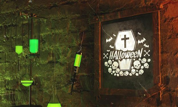 Conceito de quadro de halloween com luz verde