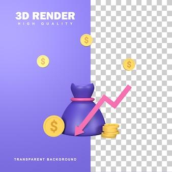 Conceito de redução de custo de renderização 3d com setas para baixo.