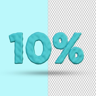 Conceito de renderização 3d 10 por cento de desconto premium psd