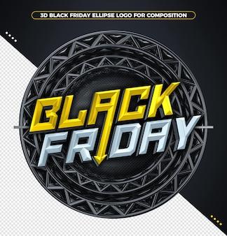 Conceito de renderização 3d black friday amarelo