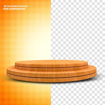 Conceito de renderização 3d de palco de pódio de madeira