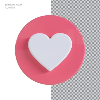 Conceito de renderização 3d do facebook love
