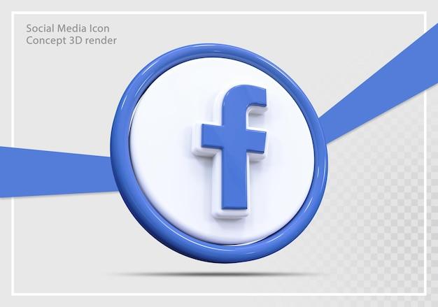 Conceito de renderização 3d do ícone de mídia social do facebook