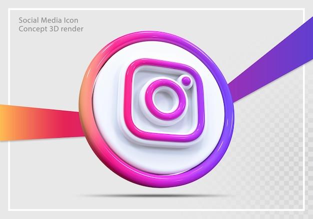 Conceito de renderização 3d do ícone de mídia social do instagram