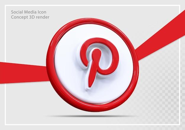 Conceito de renderização 3d do ícone de mídia social do pinterest