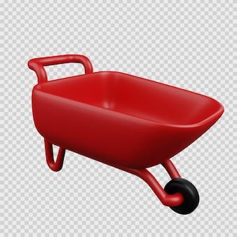 Conceito de renderização 3d ícone de construção carrinho de cimento
