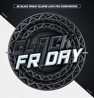 Conceito de renderização 3d preto sexta-feira branca