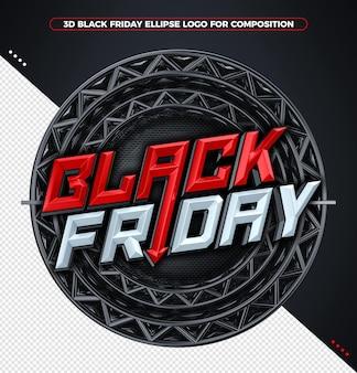 Conceito de renderização 3d vermelho black friday
