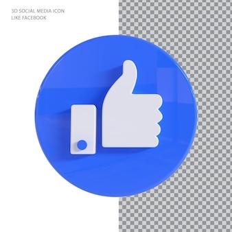 Conceito de renderização em 3d como curtir do facebook
