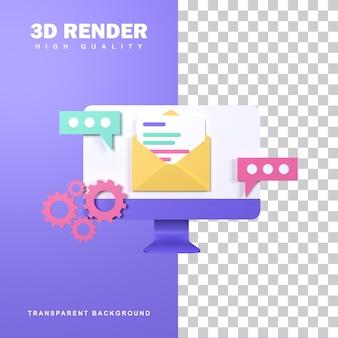 Conceito de serviço de e-mail de renderização 3d para reclamações.