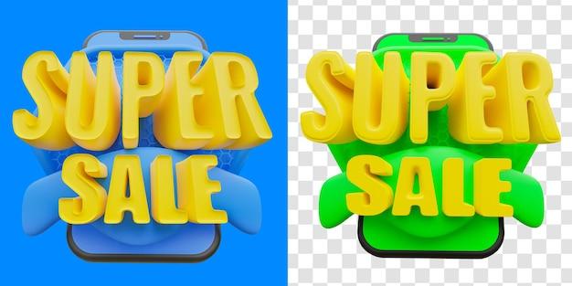 Conceito de super venda 3d isolado