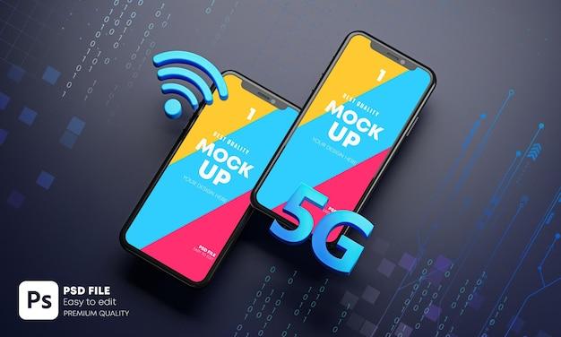 Conceito de tecnologia de holograma de maquete de dois smartphones 5g 3d