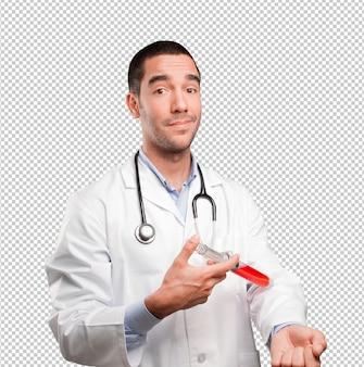 Conceito de um médico doando sangue