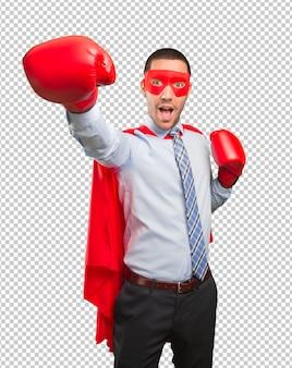 Conceito de um super empresário lutando