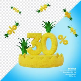 Conceito de venda de verão de 30 por cento com renderização 3d do pódio do abacaxi