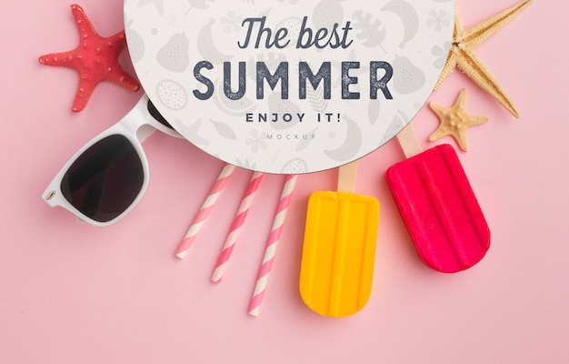 Conceito de verão com óculos de sol