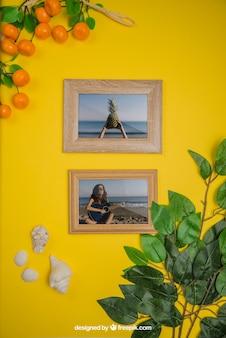 Conceito de verão com quadros e laranjas