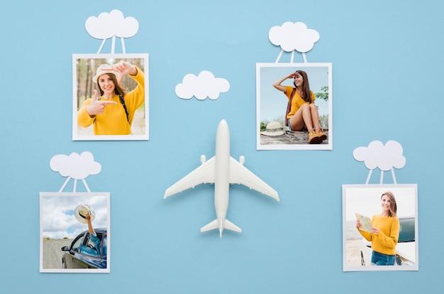 Conceito de viagens plana leiga com fotos