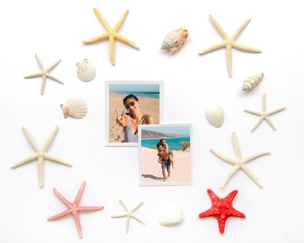 Conceito de viagens plana leigos com conchas