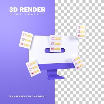 Conceito de voto on-line de renderização 3d com várias opções.