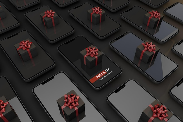 Conceito digital black friday com smartphone e caixa de presente