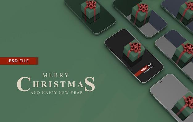 Conceito digital de natal com smartphone e modelo de maquete