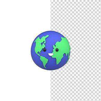 Conceito do dia mundial do meio ambiente 3d feliz fofo modelo de renderização da terra salve o planeta